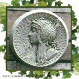ガーデンプレート 壁掛け 掛型 女神 妖精 王妃 円型 左向き イギリス製