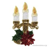 お家時間 クリスマス キャンドル ポインセチア 燭台 クリスマスオーナメント 飾り アップリケ