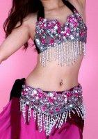 ベリーダンス衣装 トライバルフュージョン ブラ・ベルト2点set シルバー×ピンク