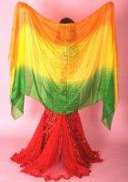 ベリーダンス用 シルクベール オレンジ×イエロー×グリーン 高級シルク