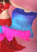 グラデーションシルクファンベール ブルー×ライトブルー×ピンク 両手用 左右2本set