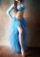 ベリーダンス衣装  ブルーフレア ブラ・スカート・ベルト・アームカバーset Designed by Sufel Boutique