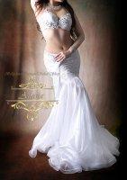 ベリーダンス衣装 ホワイトレース ブラ・スカート 2点set