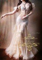 ベリーダンス衣装 ベージュフリル ブラ・スカート 2点set