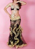 ベリーダンス衣装 ブラックフリル ブラ・スカート・アーム・ベール・ショートパンツset Designed by Kader