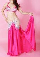 ベリーダンス衣装  ピンク ストッキング付き ブラ・スカート2点set Designed by Mohamed Kamel