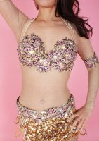 ベリーダンス衣装  パープル×ビジュー ブラ・ベルト・アーム・レッグset Designed by Sufel Boutique