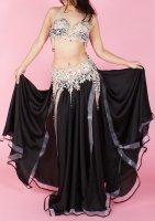 ベリーダンス衣装  ブラック×フレア  ブラ・スカート2点set Designed by Mohamed Kamel