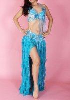 ベリーダンス衣装 フラワー×フリフリ  ブルー  ブラ・スカート 2点set