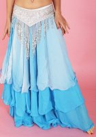 ベリーダンス用  グラデーションティヤードスカート ブルー