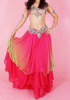 ベリーダンス用  グラデーションティヤードスカート ピンク