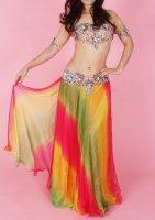 ベリーダンス用  グラデーションスカート  ピンク×グリーン×イエロー