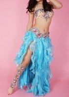 ベリーダンス用  ボリュームスカート�  ライトブルー