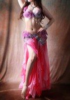 ベリーダンス衣装 ピンク×パープルフラワー  ブラ・スカート 2点set