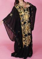 ハリージドレス ブラック イエローゴールドスパンコール刺繍