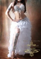 ベリーダンス衣装 シルバー×オーロラビジュー ブラ・ベルト・アーム・レッグset Designed by Sufel Boutique