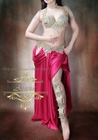ベリーダンス衣装 ゴールド×オーロラビジュー5点セット ブラ・ベルト・レッグ・ショルダーカバー・ネックset Designed by Sufel Boutique