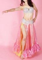 ベリーダンス用  オーガンジースカート ピンク×イエロー