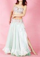 ベリーダンス用  オーガンジースカート ホワイト×グリーン