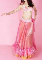ベリーダンス衣装 オリエンタルコスチューム ブラ・ベルト・スカートセット ピンク×ベージュ