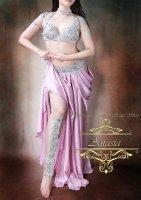 ベリーダンス衣装 シルバー×オーロラビジュー ブラ・ベルト・ショルダーカバー・レッグ・ネックset Designed by Sufel Boutique