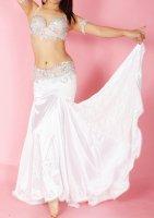 ベリーダンス用 レース×サテン スカート ホワイト