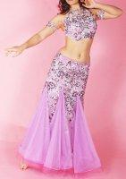 ベリーダンス衣装 花柄×ビジュー ラベンダー Designed by Sufel Boutique