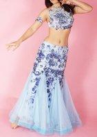 ベリーダンス衣装 花柄×ビジュー ライトブルー Designed by Sufel Boutique