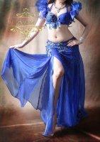 ベリーダンス衣装 オリエンタルコスチューム フラワー ロイヤルブルー ブラ・ベルト・スカートset
