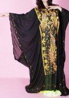 ハリージドレス  ブラック カラフルスパンコール刺繍� エジプト製