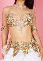 ベリーダンス衣装 ゴールド×イエロー ブラ・ベルト・アーム・レッグset Designed by Sufel Boutique