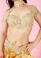 ベリーダンス衣装 ゴールド×オーロラビジュー ブラ・ベルト・レッグ・アーム・ネックset Designed by Sufel Boutique