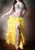 ベリーダンス衣装 ゴールド×オーロラビジュー4点set ブラ・ベルト・レッグ・アーム  Designed by Sufel Boutique