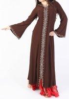 ガラベーヤ フード付 ブラウン×オレンジ1 Designed by Mamdouh Salama