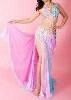 ベリーダンス衣装 ライトピンク×ブルー Designed by Irina