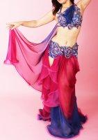 ベリーダンス衣装 ブルー×ピンクパープル Designed by Irina