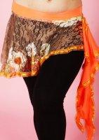 ヒップスカーフ   ブラウン×オレンジ レース designed by Hanan
