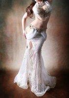 ベリーダンス衣装 ホワイト×ゴールド Designed by Halla belly design
