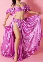 ベリーダンス衣装 オリエンタルコスチューム パープル ブラ・スカートset