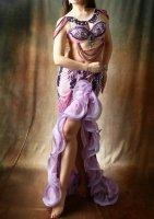 ベリーダンス衣装 ピンクパープルグラデーション  Designed by Giselle Design