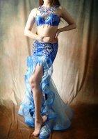 ベリーダンス衣装 ブルー  Designed by Giselle Design