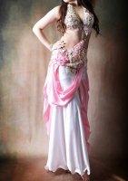 ベリーダンス衣装 ピンク×ホワイト ドレスタイプ Designed by Yasser