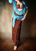エジプト製バラディドレス  ブラウンラメ サイ—ディードレスにも
