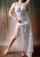 ベリーダンス衣装 ホワイトパール ドレスタイプ Designed by Mamdouh salama
