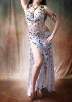 ベリーダンス衣装 ホワイト×カラフルビジュー ドレスタイプ Designed by Mamdouh salama