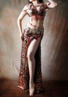 ベリーダンス衣装 レッド×ゴールド Designed by Dalila of Cairo