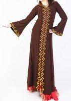 ガラベーヤ フード付 ブラウン×オレンジ2 Designed by Mamdouh Salama