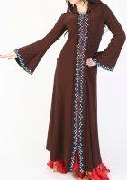 ガラベーヤ フード付 ブラウン×ブルー Designed by Mamdouh Salama