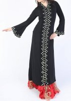 ガラベーヤ フード付 ブラック×グリーン Designed by Mamdouh Salama