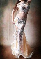 ベリーダンス衣装 ホワイト×シャンパンゴールド Designed by Halla belly design